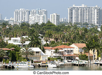 Miami Palm Island - The view of Palm Island houses with...