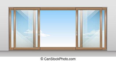 Wooden sliding door - Modern wooden wide sliding door with...