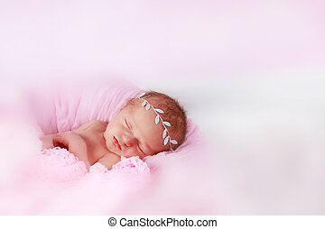 Cute newborn baby girl sleeping - Cute baby girl sleeping