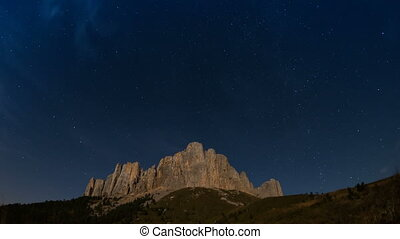 Mountain Big Thach under the starry sky. Adygea, Russia