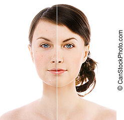 beauty - image of woman's face on white background