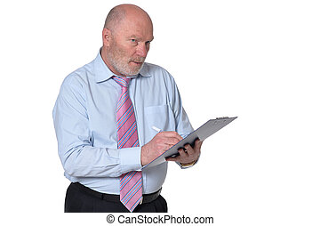 senior business person posing against white background