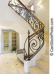 Marble stairs with handrail in bright interior - Marble,...