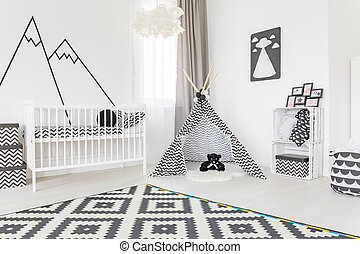 Spacious room with tipi - Spacious baby room with a tipi in...
