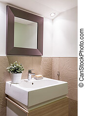 Modern bathroom with a sink - Earth tones modern bathroom...