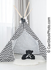 Tipi with the teddy bear - Modern interior with tipi and the...