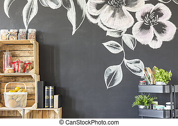 Room wall with flower motive - Room with black wall with...