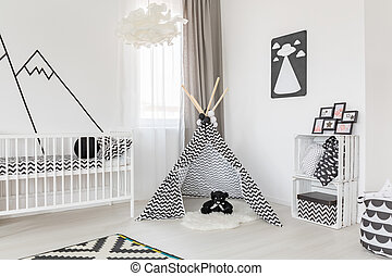 Black and white room decoration - Spacious black and white...