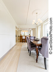 Bright dining room with modern kitchen - Bright open plan...