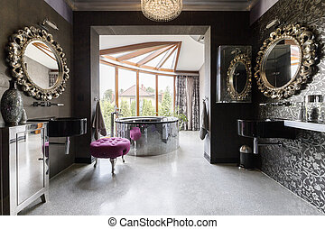 Luscious bathroom with silver accents - Luscious bathroom...