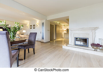 Bright living room with the fireplace - Bright elegant...