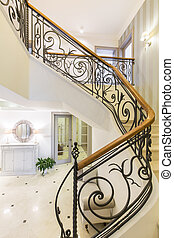 Marble stairs with elegant forged handrail - Marble, elegant...