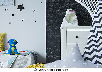 Room with galactic motives and blackboard wall