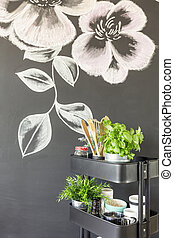 Chalky flowers on the wall - Chalky flowers drawing on the...