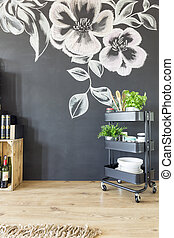 Kitchen with decorated wall - Kitchen with black wall...