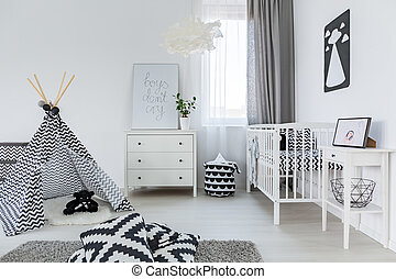 Baby room in nordic style - Bright baby room in nordic style...