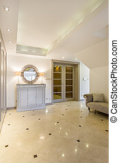 Spacious hall with marble floor and commode - Spacious,...