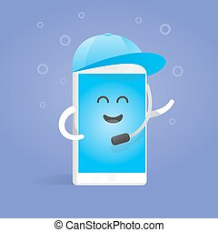 Smartphone concept manager accepts calls in cap with microphone. Cute Cartoon character phone with hands, eyes and smile