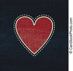 Blue jeans fabric with heart for Valentines Day Sale. Eps 8...