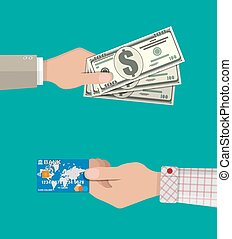 hands with bank card and cash - businessman hands with bank...