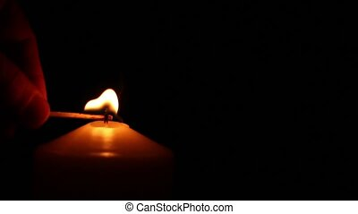 hand candle fire