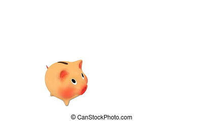 Gold coins fly into the piggy bank. Full HD animation,...