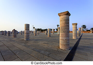 Columns in Rabat - Columns in front of the Mausoleum of King...