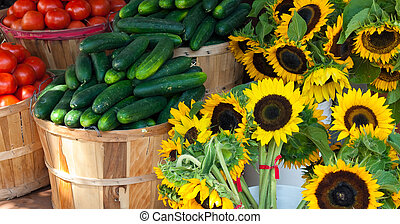 Farmers Market - Closeup of produce in front of a market...