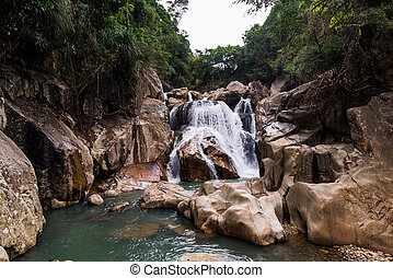 Milky waterfall photo made with long exposure in Nha Trang...
