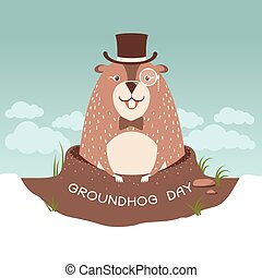 Happy Groundhog day illustration with cute marmot in...