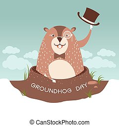 Groundhog day illustration with happy marmot in a hat -...