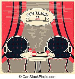 Gentlemen club illustration.Vector room with table and...
