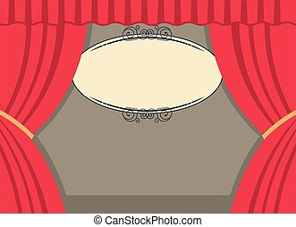 theater scene with red curtains and board for text