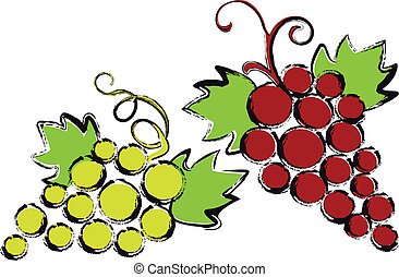 red and green grapes with vine leaves, vector