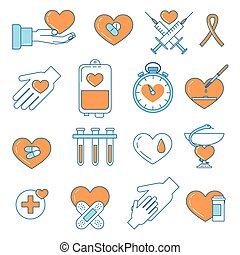 Blood donation line design colorful icons. Charity,...
