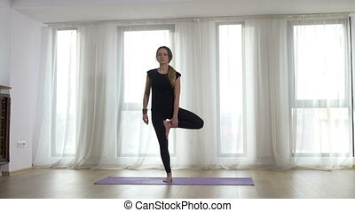 Adult woman warm up before yoga practice