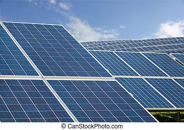 Solar Farm Park. Panels Sunny Blue Sky, Sustainable...