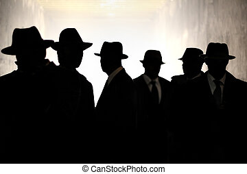 Men in fedora hats silhouette. Security, Privacy,...
