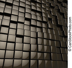 Abstract rounded glossy black cubes modern background. 3D...