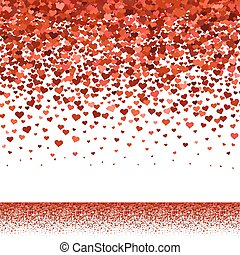 Seamless red hearts fall upper border