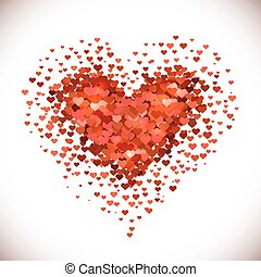 Heart shaped pile made of little red heart shapes isolated...