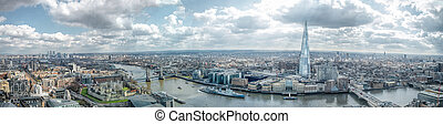 London Cityscape Skyline Wide Panorama. Famous Landmarks -...