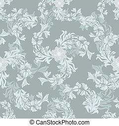 Seamless grey floral vector pattern.