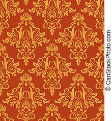 Seamless red and yellow vintage damask wallpaper pattern.