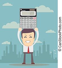 accountant is showing an electronic calculator