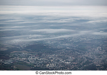 Aerial view of Paris suburbs, France