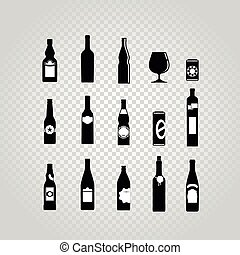 Different black bottles and glasses set isolated on...