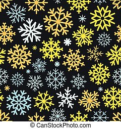 Different vector snowflakes seamless pattern. Vector ice...