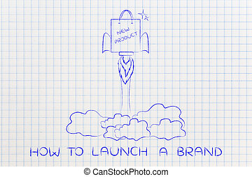 new product launch: shopping bag with rocket setup