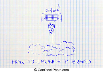 new product launch: shopping cart with rocket setup